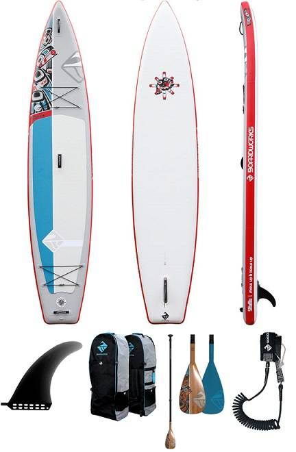Boardworks 12'6 Raven Inflatable stand up paddle board review - image Raven-pack-includes on https://supboardgear.com