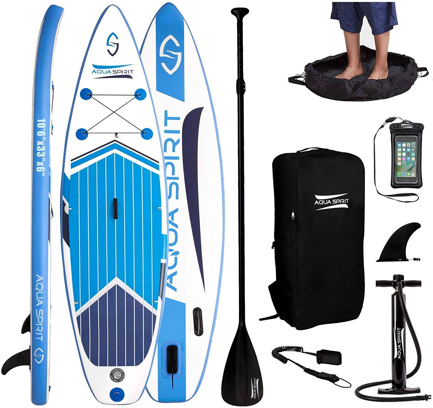 AQUA SPIRIT All Skill Levels Paddle Board – Performance packed Option or all Activities