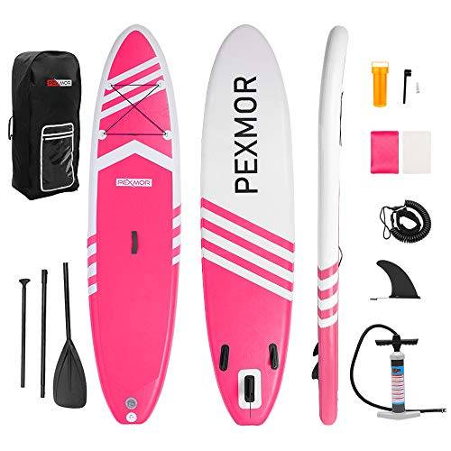 FCH PEXMOR Inflatable Paddle Boards Stand Up 10.5'x30 x6 ISUP Surf Control Non-Slip Deck Standing Boat with Carry Bag, Floated Paddle, Hand Pump, Removable Fin, Leash, Repair Kit (Pink and White) - image fch-pexmor-inflatable-paddle-boards-stand-up-105x30-x6-isup-surf-control on https://supboardgear.com