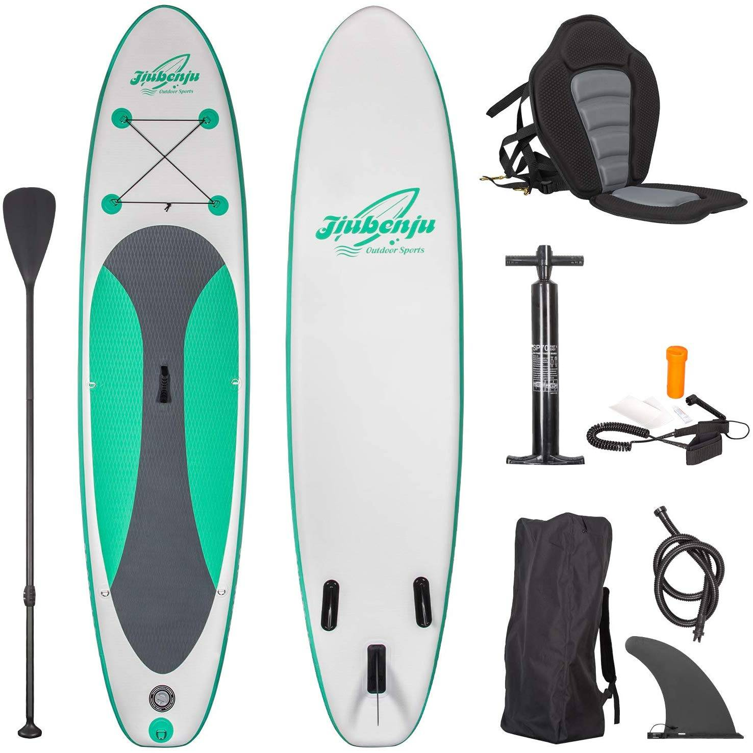Jiubenju Inflatable Stand Up Paddle Board with Kayak Seat for Youth Adults
